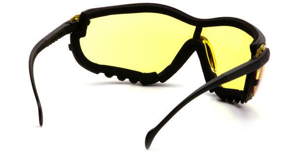 Pyramex V2G Safety Glasses/Goggles with Black Frame and Amber Lens - Back