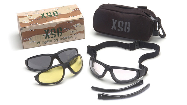 Pyramex XSG Ballistic Goggle Kit with Black Frame and Clear, Gray, and Amber Lenses