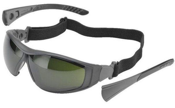 Elvex Go-Specs II Safety Glasses/Goggles with Black Frame, Foam Seal and IR5 Anti-Fog Lens GG-45WS5-AF
