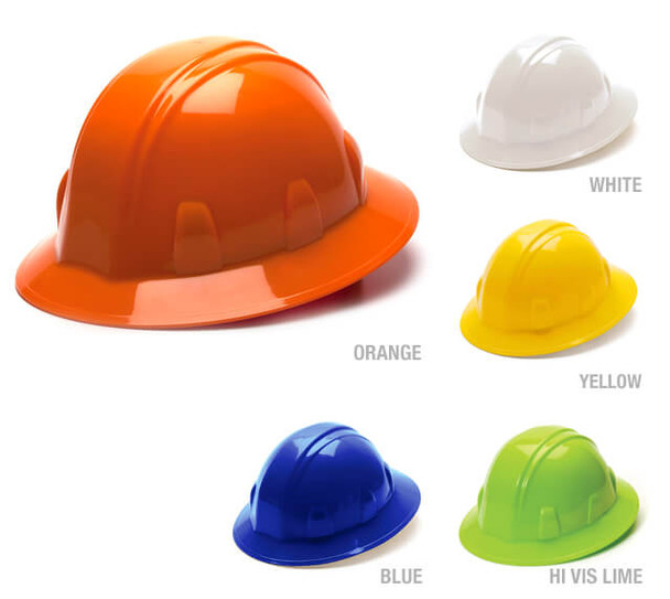 Pyramex Full Brim Hard Hat with 4-Point Ratchet Suspension HP241X
