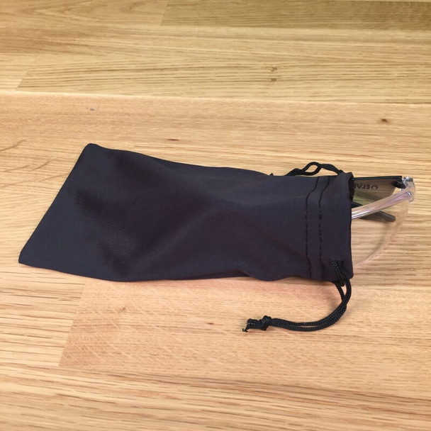 Microfiber Sunglasses Pouch with glasses partially inserted