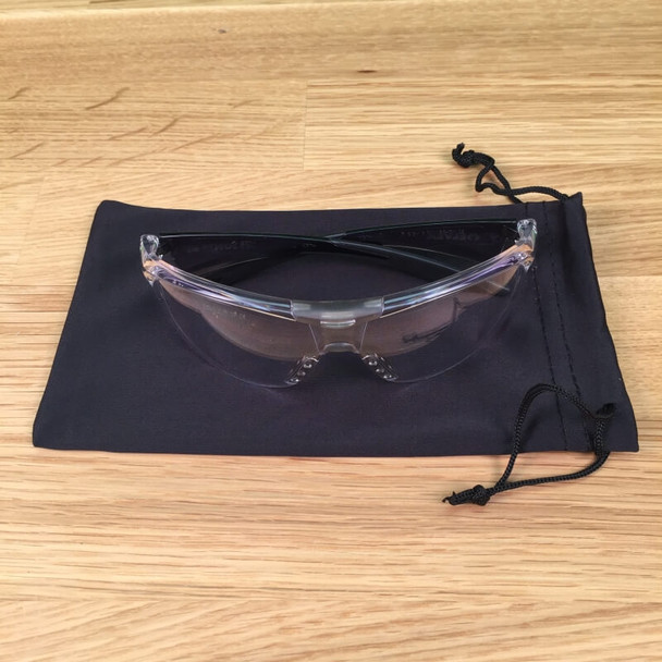 Microfiber Sunglasses Pouch with safety glasses on top