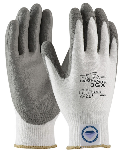 PIP 19-D322 Great White 3GX Seamless Knit Dyneema Diamond/Lycra Gloves with PU Coated Smooth Grip on Palm & Fingers