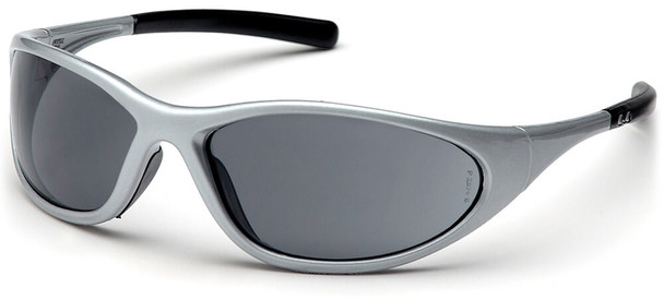 Pyramex Zone 2 Safety Glasses with Silver Frame and Gray Lens
