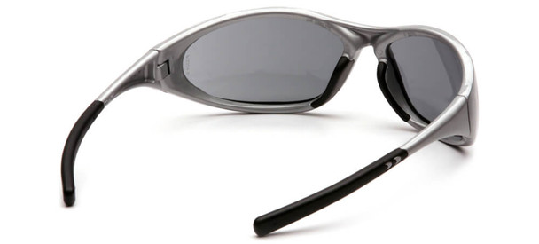 Pyramex Zone 2 Safety Glasses with Silver Frame and Gray Lens - Back