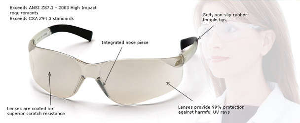 Pyramex Mini Ztek Safety Glasses with Clear Lens Key Features