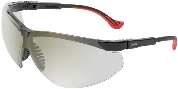 Uvex Genesis XC Safety Glasses Black Frame Reflect 50 Lens S3302