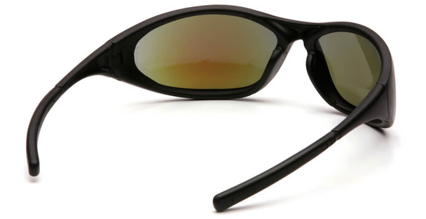 Pyramex Zone 2 Safety Glasses with Black Frame and Ice Blue Mirror Lens - Back