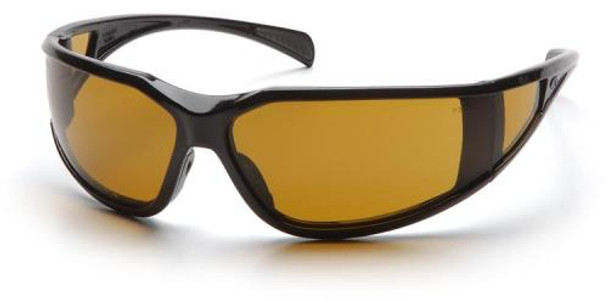 Pyramex Exeter Safety Glasses with Black Frame and Shooter's Amber Anti-Fog Lens