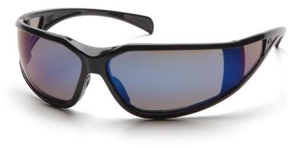 Pyramex Exeter Safety Glasses with Black Frame and Blue Mirror Anti-Fog Lens