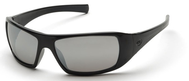 Pyramex Goliath Safety Glasses with Black Frame and Silver Mirror Lens