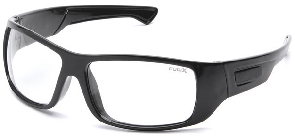 Pyramex Furix Safety Glasses with Black Frame and Clear Anti-Fog Lens SB8510DT