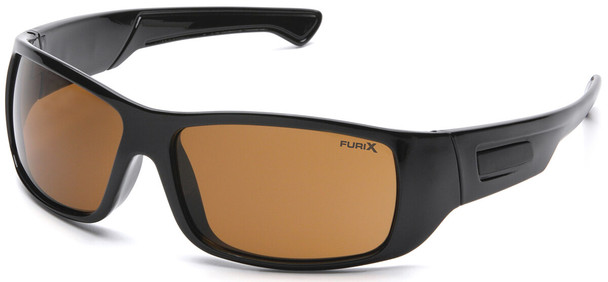Pyramex Furix Safety Glasses with Black Frame and Coffee Anti-Fog Lens SB8515DT