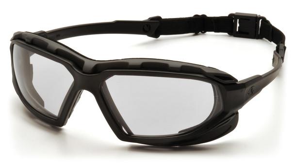 yramex Highlander Plus Safety Glasses Black Foam-Lined Frame Clear Anti-Fog Lens SBG5010DT