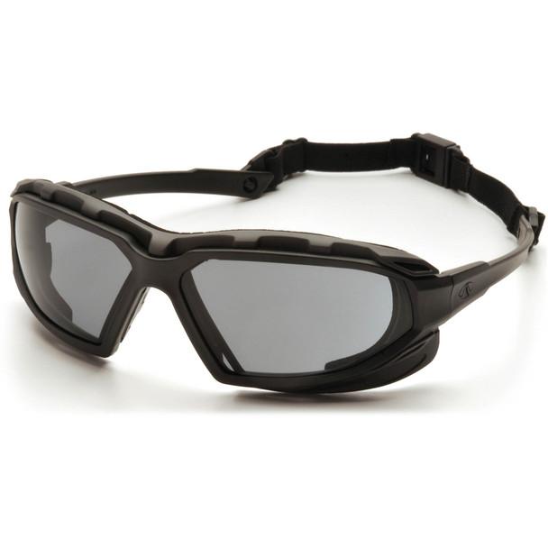 Pyramex Highlander Plus Safety Glasses Black Foam-Lined Frame Gray Anti-Fog Lens SBG5020DT