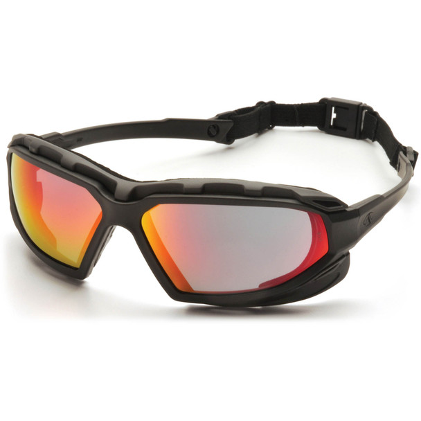 Pyramex Highlander Plus Safety Glasses Black Foam-Lined Frame Sky Red Mirror Anti-Fog Lens SBG5055DT