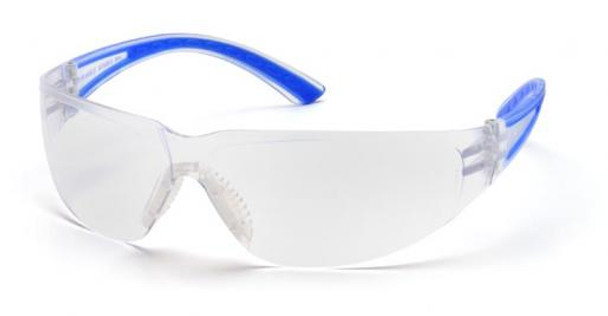 Pyramex Cortez Safety Glasses with Navy Temples and Clear Lens