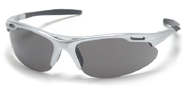 Pyramex Avante Safety Glasses with Silver Frame and Gray Lens SS4520D