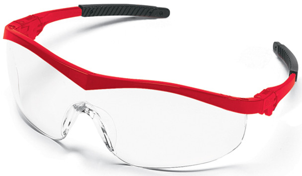 Crews Storm Safety Glasses with Red Frame and Clear Lens ST130