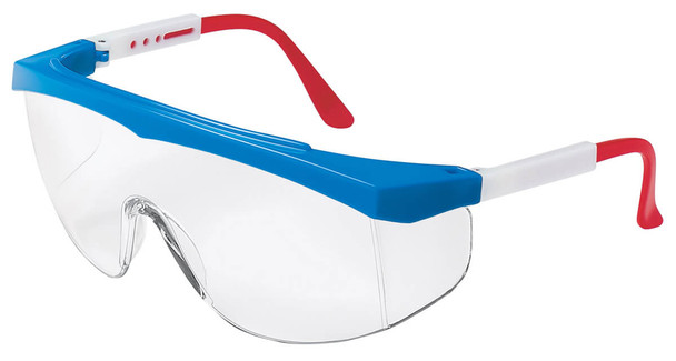 Crews Stratos Safety Glasses with RWB Frame and Clear Lens
