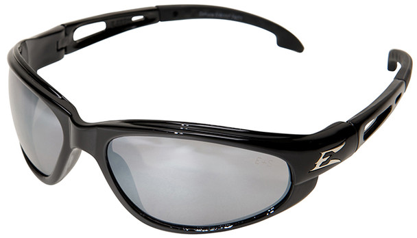 Edge Dakura Safety Glasses with Black Frame and Silver Mirror Lens