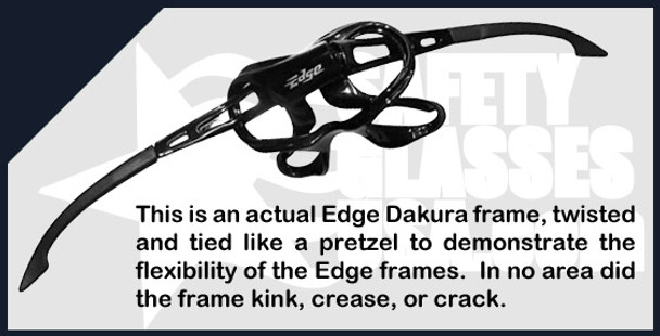 Edge Dakura Safety Glasses with Black Frame and Blue Mirror Lens