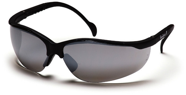 Pyramex Venture 2 Safety Glasses with Black Frame and Silver Mirror Lens SB1870S