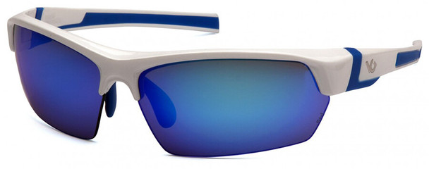 Venture Gear Tensaw Safety Sunglasses with White and Blue Frame and Ice Blue Mirror Anti-Fog Lens