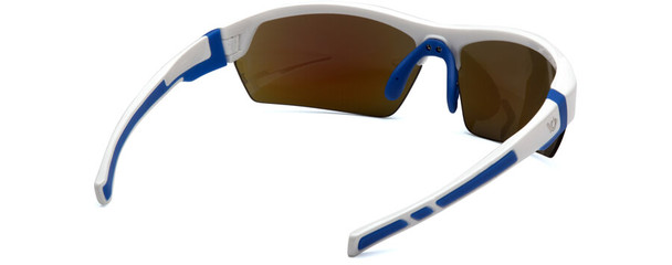 Venture Gear Tensaw Safety Sunglasses with White and Blue Frame and Ice Blue Mirror Anti-Fog Lens - Back