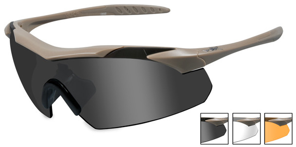 Wiley X Vapor Safety Sunglasses with Matte Tan Frame and Grey, Clear and Light Rust Lenses