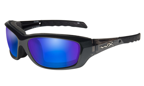 Wiley X Gravity Safety Sunglasses with Black Crystal Frame and Polarized Blue Mirror Lens CCGRA04