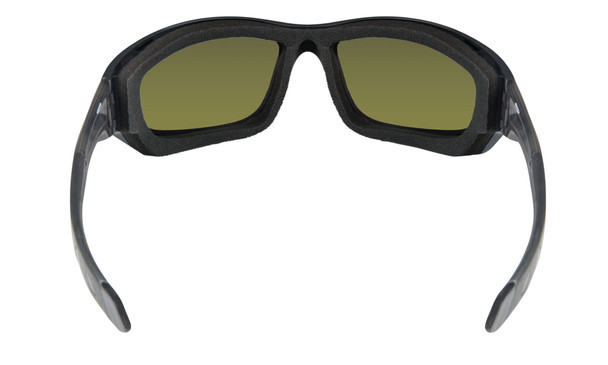 Wiley X Gravity Safety Sunglasses with Black Crystal Frame and Polarized Blue Mirror Lens Inside Foam View
