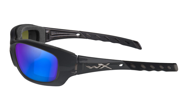 Wiley X Gravity Safety Sunglasses with Black Crystal Frame and Polarized Blue Mirror Lens Side View