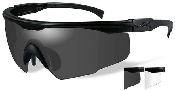 Wiley X PT-1 Ballistic Safety Glasses Kit with Matte Black Frame and Smoke Grey and Clear Lenses