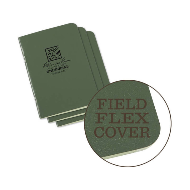 Rite In The Rain Stapled Mini-NoteBook Green 3PK