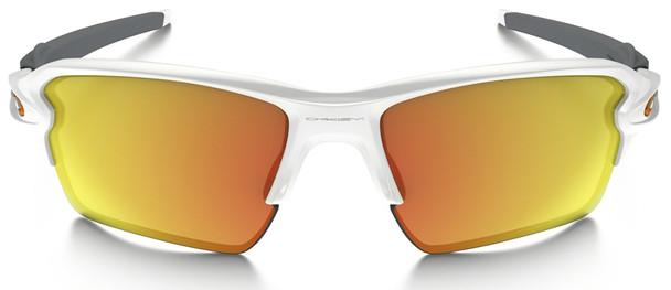 Oakley Flak Jacket 2.0 XL Sunglasses with Polished White Frame and Fire Iridium Lens Front
