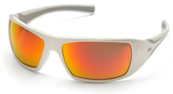 Pyramex Goliath Safety Glasses with Pearl White Frame and Sky Red Mirror Lens SW5655D