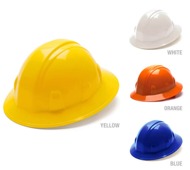 Pyramex Full Brim Hard Hat with 6-Point Ratchet Suspension