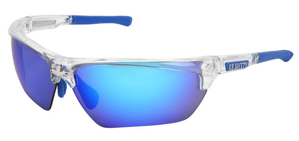Crews Dominator 3 Safety Glasses with Clear Frame and Polarized Ice Blue Mirror Lens