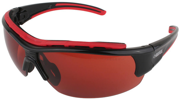 Elvex RSG300 Series Safety Glasses with Black/Red Frame and Blue Block Copper Lens