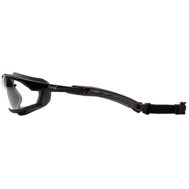 Pyramex Isotope Convertible Safety Glasses/Goggles with Black Frame and Clear Anti-Fog Lens - Side