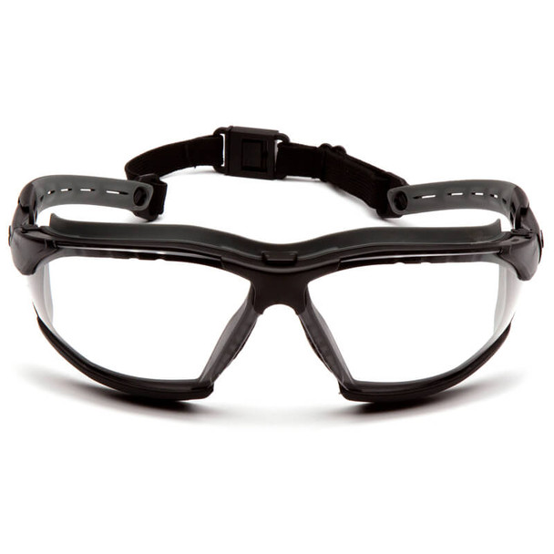 Pyramex Isotope Convertible Safety Glasses/Goggles with Black Frame and Clear Anti-Fog Lens - Front