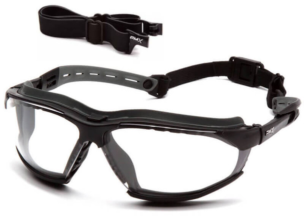 Pyramex Isotope Convertible Safety Glasses/Goggles Black Frame Clear H2MAX Anti-Fog Lens GB9410STM