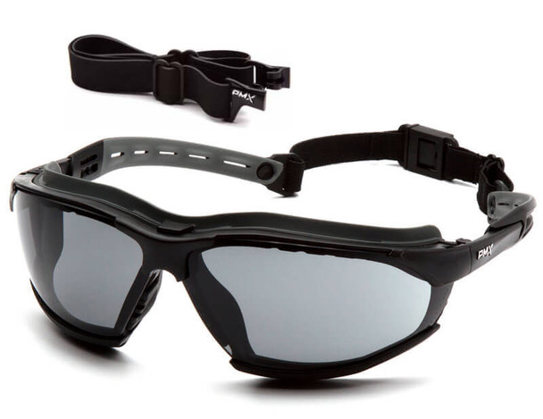 Pyramex Isotope Convertible Safety Glasses/Goggles with Black Frame and Gray Anti-Fog Lens
