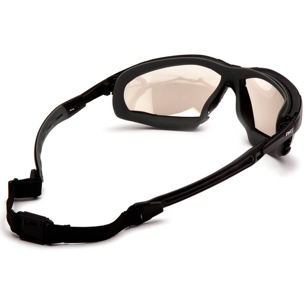 Pyramex Isotope Convertible Safety Glasses/Goggles with Black Frame and Indoor/Outdoor Anti-Fog Lens - Back