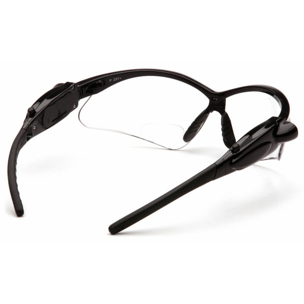 Pyramex PMXtreme LED Bifocal Safety Glasses with Black Frame and Clear Anti-Fog Lens - Back