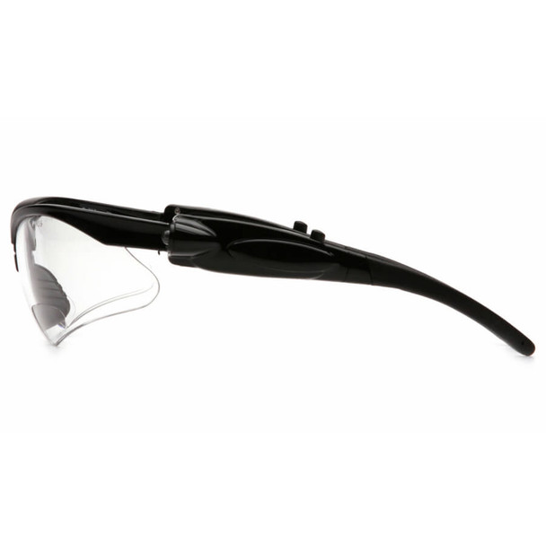 Pyramex PMXtreme LED Bifocal Safety Glasses with Black Frame and Clear Anti-Fog Lens - Side