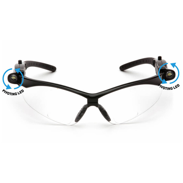 Pyramex PMXtreme LED Bifocal Safety Glasses with Black Frame and Clear Anti-Fog Lens - Front