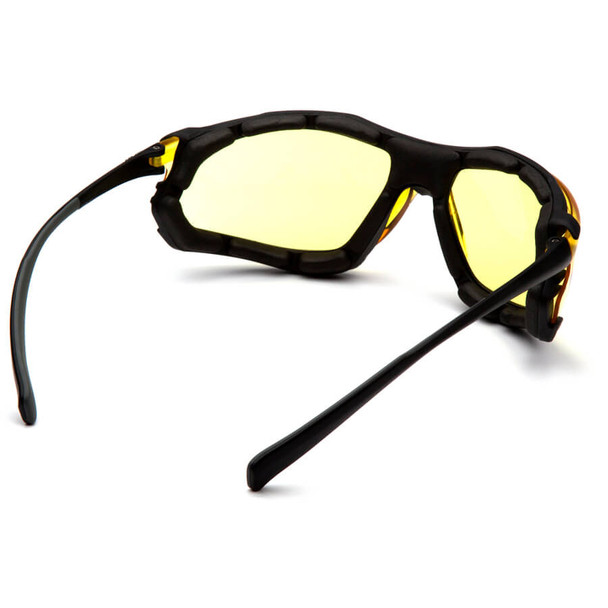 Pyramex Proximity Safety Glasses with Black Frame and Amber Lens - Back