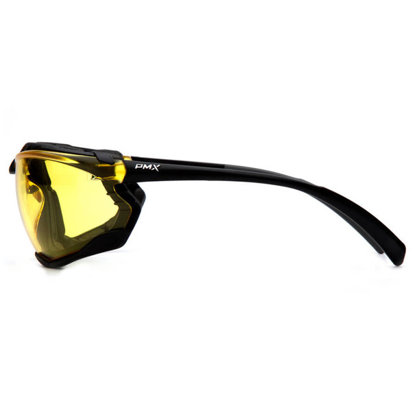 Pyramex Proximity Safety Glasses with Black Frame and Amber Lens - Side